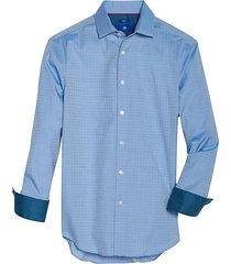 egara men's modern fit sport shirt blue woven check - size: small