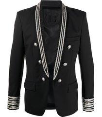 balmain beaded blazer - black