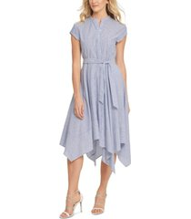 dkny striped fit & flare dress