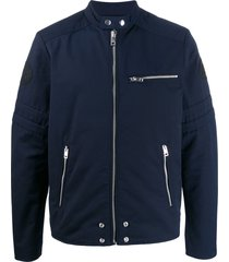 diesel side-buckle biker jacket - blue