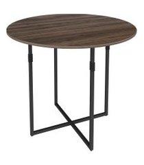 mesa de jantar redonda liz marrom e preta 90 cm