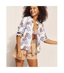 camisa feminina emi beachwear estampada folhagem meninas manga 3/4 com babados off white