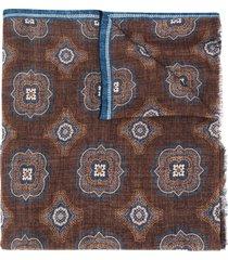 lady anne medallion print scarf - blue