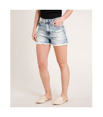 short jeans feminino cintura super alta destroyed azul claro