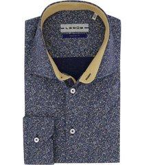 ledub overhemd mouwlengte 7 donkerblauwe print