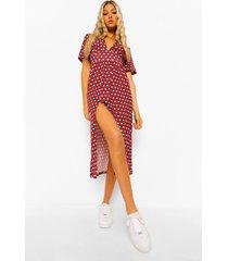 tall midi jurk met contrasterende stippen, berry