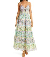 women's alice + olivia karolina floral tiered cotton maxi dress, size 12 - purple