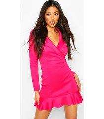 fishtail wrap mini tailored dress, dark pink
