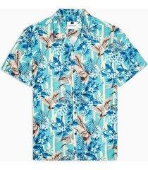 mens blue crane floral print revere shirt