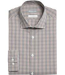 michael kors slim fit dress shirt brown check