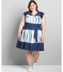 lane bryant women's tie-dye fit & flare short dress 16 medieval blue