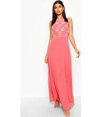 floral embellished maxi bridesmaid dress, coral