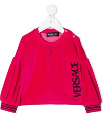 young versace embroidered logo velvet tunic - pink