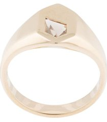 natalie marie 9kt yellow gold piet stone smokey quartz signet ring