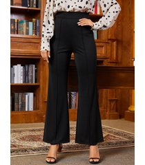 yoins cremallera negra diseño pierna ancha de cintura alta pantalones