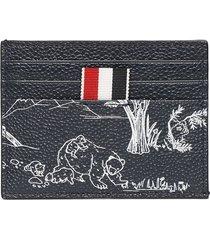 3d toile bear print card holder navy