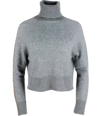 lorena antoniazzi turtleneck cashmere sweater with fine band in contrasting color.