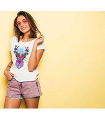 koszulka damska oversize z nadrukiem jeleń