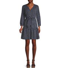 tommy hilfiger women's dots & stripes flare dress - sky captian - size 2