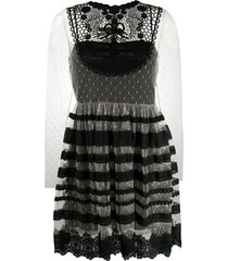 red valentino lace tiered tulle dress - black