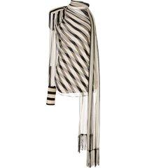 monse regalia striped chiffon scarf blouse - black