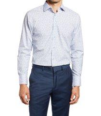 men's big & tall nordstrom trim fit floral stretch non-iron dress shirt, size 18 - 34/35 - blue
