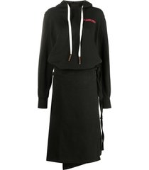 ambush hooded long-sleeve dress - black