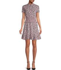 stellah women's printed smocked-waist dress - pink - size m