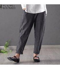 zanzea pantalones de lápiz de algodón a cuadros sueltos para mujer pantalones de cintura alta de talla grande -azul
