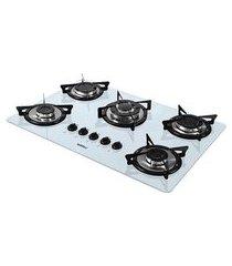 fogão de mesa cooktop branco 5 bocas flange inox nv5tc nardelli