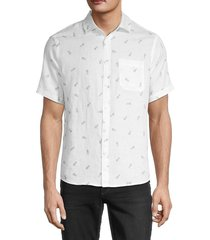 saks fifth avenue men's novelty regular-fit linen shirt - white - size xxl