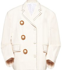 miu miu oversized-button canvas jacket - neutrals