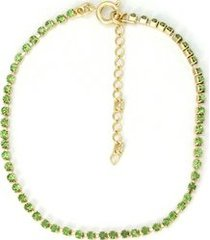 tornozeleira tudo joias com pedras verde folheado a ouro 18k