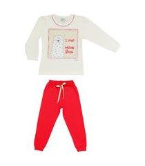 pijama meia malha brilha no escuro lhama dadomile multicolorido