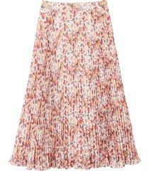 lång, plisserad kjol med blommönster