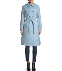 jane post women's crunch double-breasted trench coat - sky blue - size l