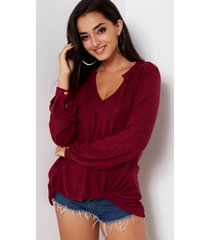 burgundy knotted fashion loose t shirt