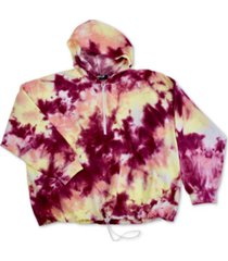 full circle trends trendy plus size tie-dyed hoodie