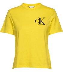 back institutional logo slim tee t-shirts & tops short-sleeved gul calvin klein jeans