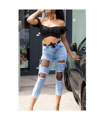 sexy gebruikte used look hoge taille jeans met net-cutouts blauw