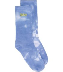 aries ribbed tie dye socks - blue