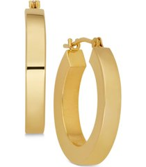 polished chunky flat-edge tube hoop earrings in 14k gold