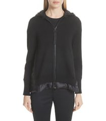 women's moncler hooded quilted cardigan, size x-small - black