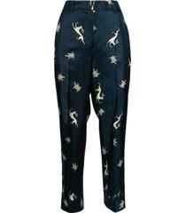 s max mara regular fit printed cropped trousers