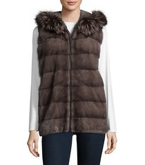 dyed mink fur hooded vest