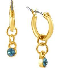 rachel rachel roy gold-tone link & crystal charm hoop earrings