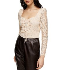 women's topshop lace corset crop blouse, size 8 us (fits like 6-8) - beige