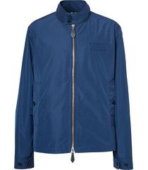burberry harrington logo appliqué jacket - blue