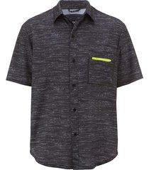 overhemd men plus zwart::grijs::neongeel