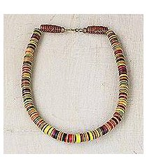 recycled plastic beaded necklace, 'earthy elegance' (ghana)